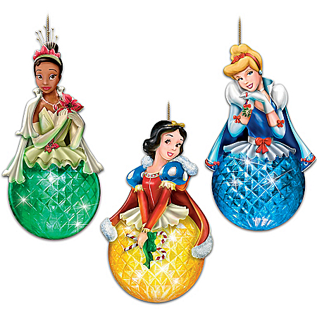 Disney Princess Sparkling Dreams Christmas Ornament Set