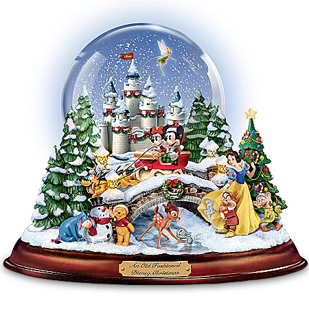 """An Old Fashioned Disney Christmas"" Musical Snowglobe Showcasing 13 Classic Characters"