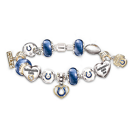 Go Colts! #1 Fan NFL Indianapolis Colts Women's Charm Bracelet
