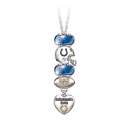 NFL Indianapolis Colts Charm Necklace: Go Colts! #1 Fan
