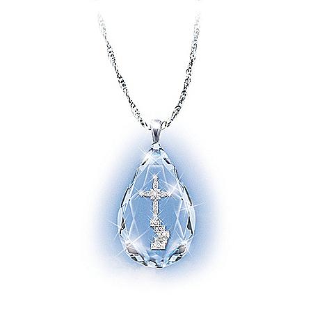 The Loving Memories Teardrop Crystal Bereavement Pendant Necklace