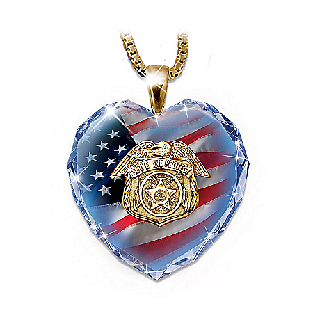 Photo of Police Crystal Heart Pendant Necklace by The Bradford Exchange Online