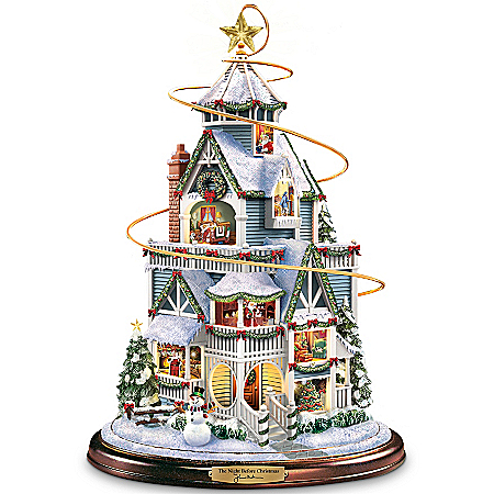 Thomas Kinkade The Night Before Christmas Tabletop Centerpiece with Moving Sleigh