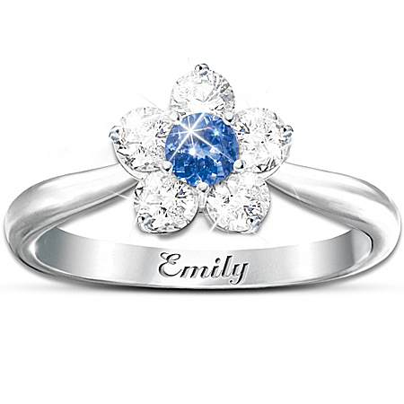 Precious Granddaughter Blossom Ring: Personalized With Her Name And Birthstone