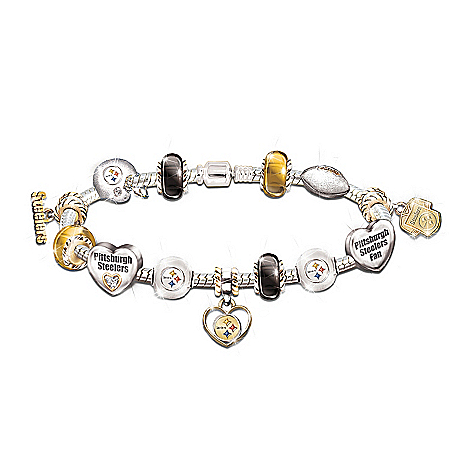Pittsburgh Steelers Charm Bracelet With Swarovski Crystals