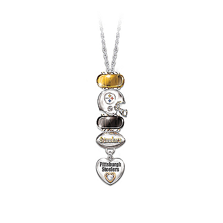 Pittsburgh Steelers Charm Necklace With Swarovski Crystals