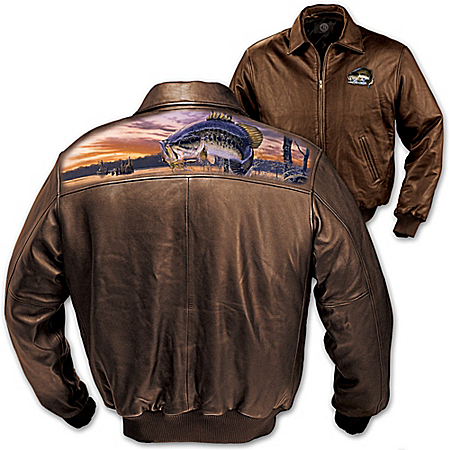 Gone Fishing Men's Leather Jacket