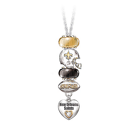 NFL New Orleans Saints #1 Fan Charm Necklace: Go Saints!