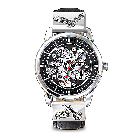 "Freedom's Ride"" Motorcycle Skeleton Watch"