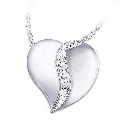 My Dear Granddaughter Diamond Heart Pendant Necklace