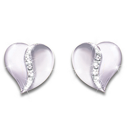 My Precious Granddaughter Heart-Shaped Sterling Silver Diamond Earrings