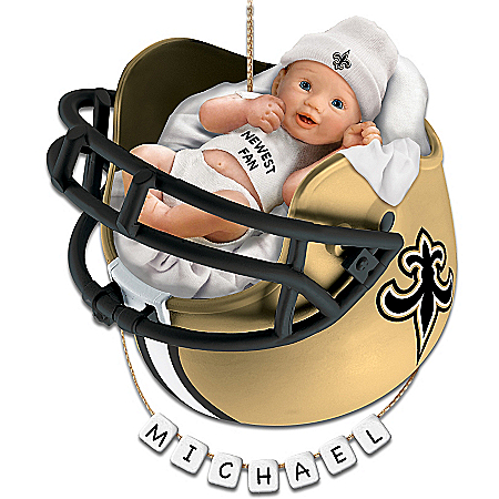 New Orleans Saints Personalized Baby's First Christmas Ornament by The Bradford Exchange Online - Lovely Exchange