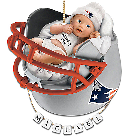 Photo of New England Patriots Personalized Baby's First Christmas Ornament by The Bradford Exchange Online