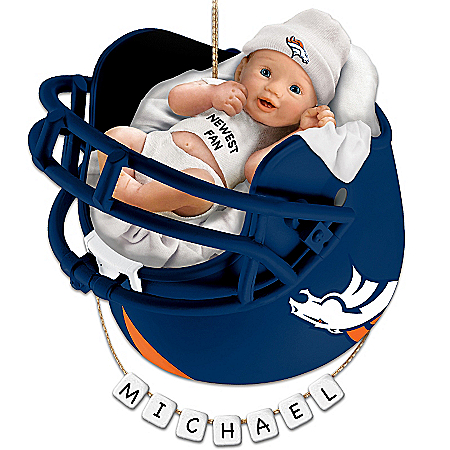 Denver Broncos Personalized Baby's First Christmas Ornament by The Bradford Exchange Online - Lovely Exchange