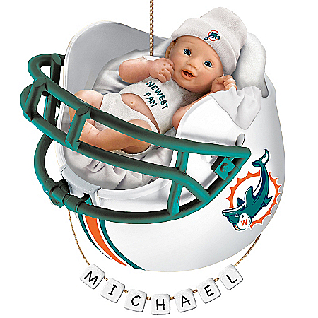 Miami Dolphins Personalized Baby's First Christmas Ornament