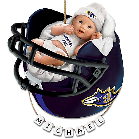 Baltimore Ravens Personalized Baby's First Christmas Ornament