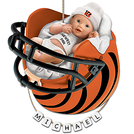 Cincinnati Bengals Personalized Baby's First Christmas Ornament