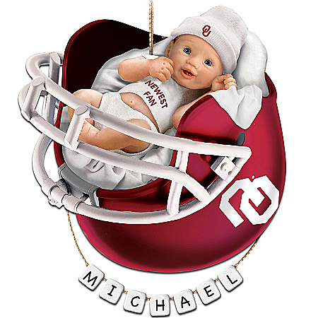 Oklahoma Sooners Personalized Baby's First Christmas Ornament by The Bradford Exchange Online - Lovely Exchange