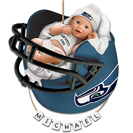 Seattle Seahawks Personalized Baby's First Christmas Ornament by The Bradford Exchange Online - Lovely Exchange