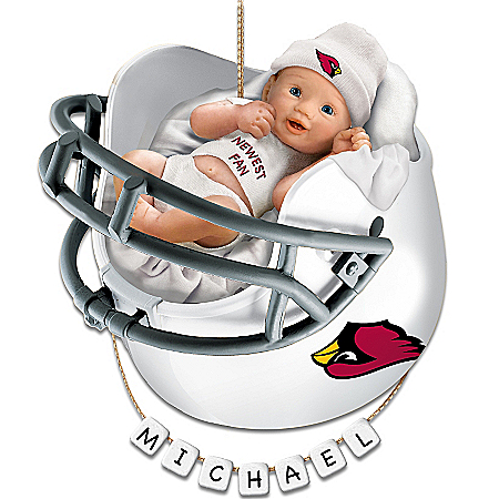 Arizona Cardinals Personalized Baby's First Christmas Ornament by The Bradford Exchange Online - Lovely Exchange