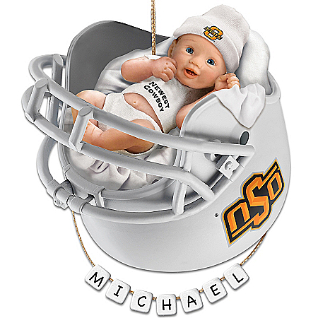 OSU Cowboys Football Personalized Baby's First Ornament