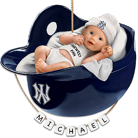 New York Yankees Personalized Baby's First Christmas Ornament by The Bradford Exchange Online - Lovely Exchange