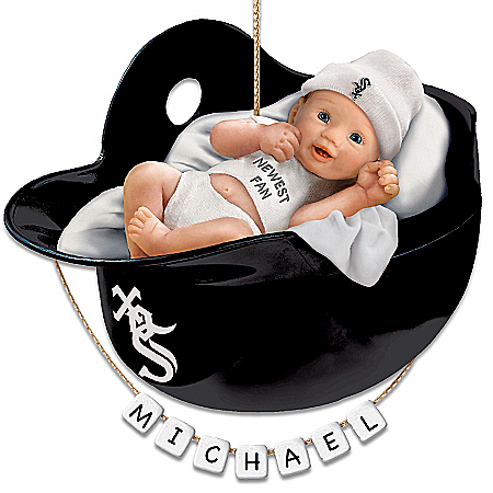 Chicago White Sox Personalized Baby's First Christmas Ornament by The Bradford Exchange Online - Lovely Exchange