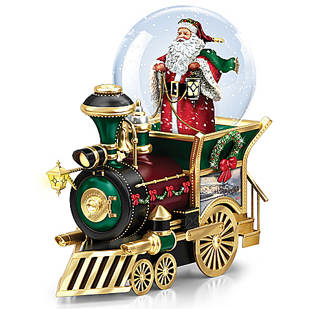 Sculpted Christmas Train Car With Santa Snow Globe