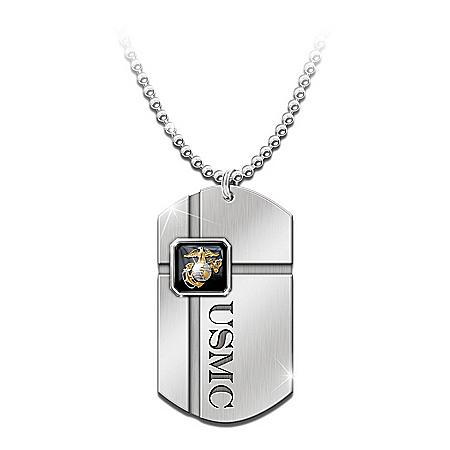 For My Marine: USMC Dog Tag Pendant Necklace