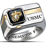 For My Marine Sterling Silver And Black Onyx Men's Ring