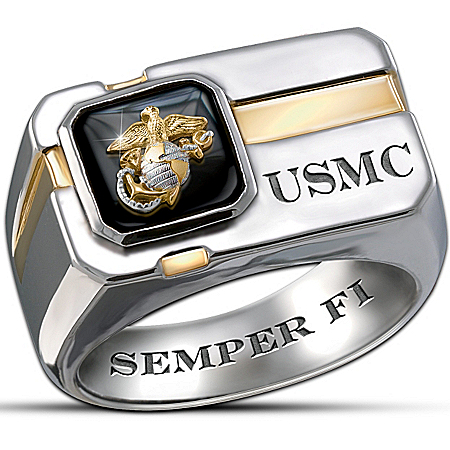 """For My Marine"" Sterling Silver And Black Onyx Men's Ring"
