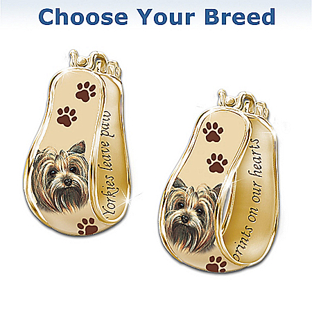 """A Loyal Companion"" Dog Art Cuff Earrings by The Bradford Exchange Online - Lovely Exchange"