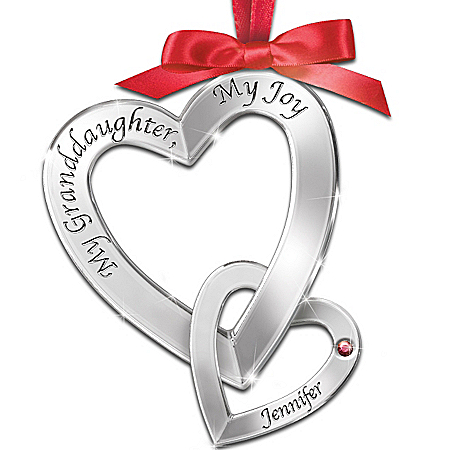 My Granddaughter, My Joy Personalized Heart-Shaped Birthstone Ornament