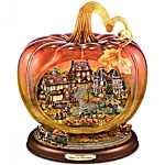 Thomas Kinkade Art Glass Pumpkin Reflections Of A Harvest Season Tabletop Centerpiece