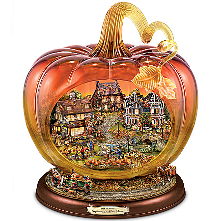 "Thomas Kinkade Art Glass Pumpkin ""Reflections Of A Harvest Season"" Tabletop Centerpiece"