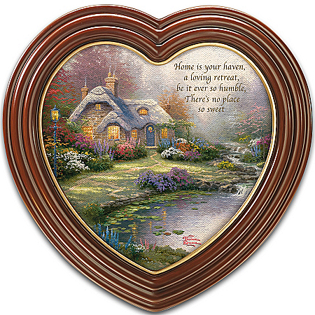 "Home Decor Collectibles Thomas Kinkade ""Home Sweet Home"" Heart-Shaped Framed Wall Decor"