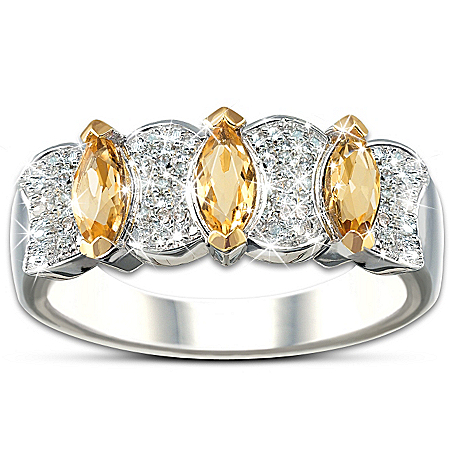 Sophistication: Diamond & Yellow Sapphire Eternity Ring