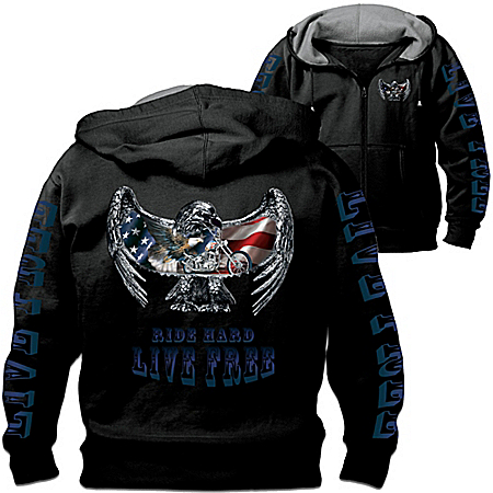 """Open Road"" Men's Hoodie: Hooded Men's Jacket With Motorcycle Art by The Bradford Exchange Online - Lovely Exchange"
