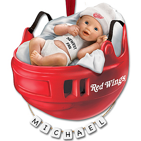 NHL® Detroit Red Wings® Personalized Baby's First Ornament by The Bradford Exchange Online - Lovely Exchange