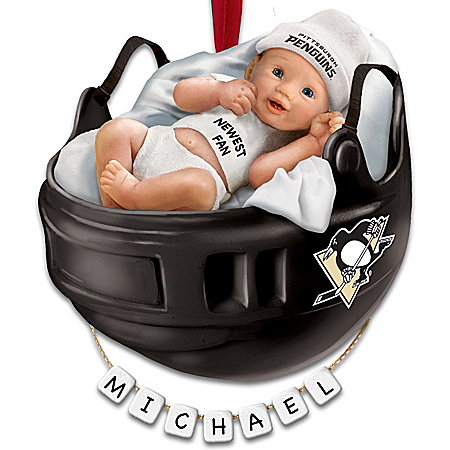 NHL® Pittsburgh Penguins® Personalized Baby's First Ornament by The Bradford Exchange Online - Lovely Exchange