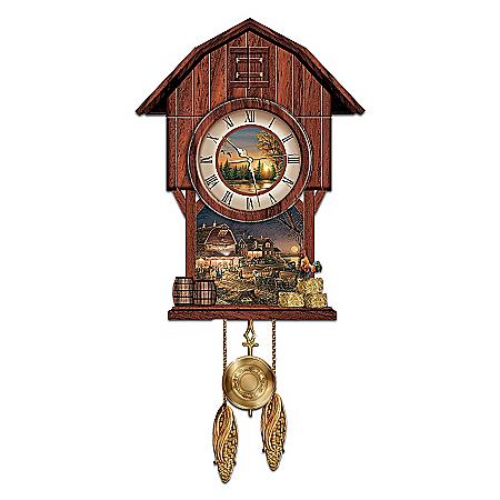 "Terry Redlin ""Harvest Moon Ball"" Cuckoo Clock"