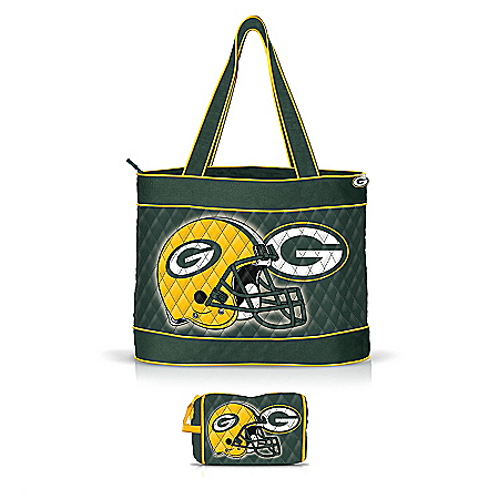 Green Bay Packers Quilted Carryall Tote Bag by The Bradford Exchange Online - Lovely Exchange