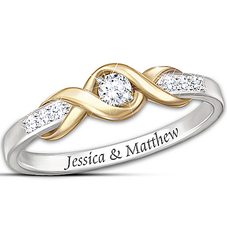 """Infinite Love"" Personalized Solitaire Diamond Ring – Personalized Jewelry"
