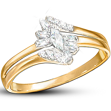 "The ""Fire And Ice"" Solid 10K Gold Ring With 15 Genuine Diamonds In 3 Exquisite Cuts"