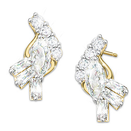 Fire And Ice Solid 10K Yellow Gold And Diamond Earrings