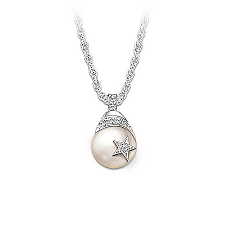 My Daughter, Shining Star: Diamond And Cultured Pearl Pendant Necklace