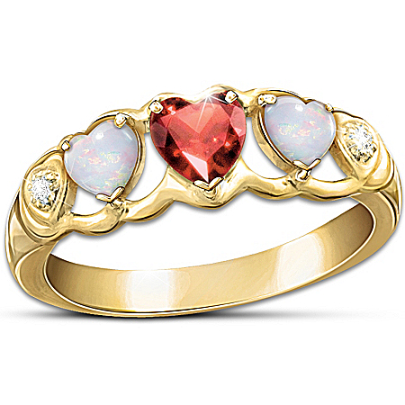 Heart-Shaped Diamond And Gemstone Eternity Ring: Loving Hearts