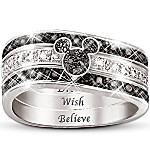 The Mickey Hidden Message Engraved Women's Three Band Ring