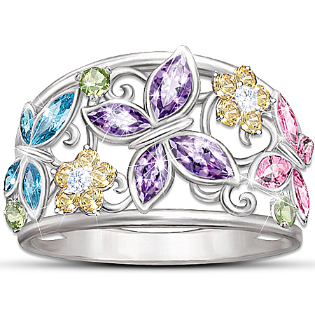 "Sterling Silver ""Spring Radiance"" Butterfly Ring Featuring Three Cubic Zirconia Butterflies"