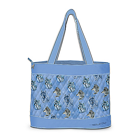 Quilted Wolf Art Tote Bag With 2 Free Matching Cosmetic Cases: Spirit Of The Wilderness